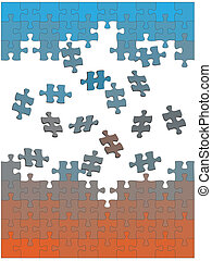 Jigsaw puzzle pieces fall fly together as easy solution