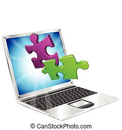 Jigsaw puzzle pieces flying out of laptop computer