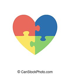 Jigsaw puzzle pieces in form of heart, isolated on white background. Autism symbol. Vector illustration.