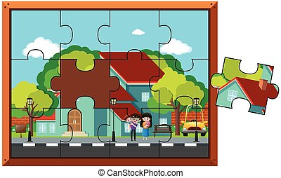 Jigsaw puzzle pieces of family at home