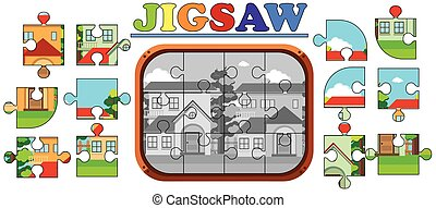 Jigsaw puzzle pieces of houses on the road