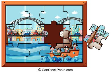 Jigsaw puzzle pieces of kids on ship