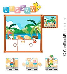 Jigsaw puzzle pieces of kids on the beach