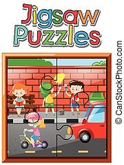 Jigsaw puzzle pieces of kids on the road