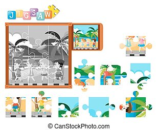 Jigsaw puzzle pieces of kids walking
