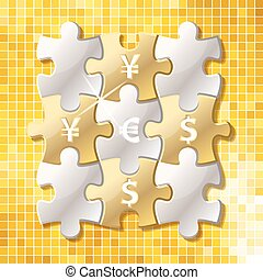 Jigsaw puzzle pieces with currency symbol
