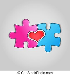 Jigsaw puzzle pieces with heart shape between them on gray background. Two halves of the whole. Love, medical, relationship symbol. Valentine's concept. Vector Illustration.