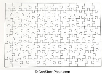 Jigsaw Puzzle - Plain white jigsaw puzzle, on white...