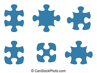 Jigsaw puzzle - Set of various blue puzzle piece shapes ...