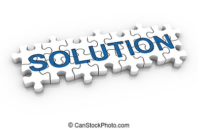 White jigsaw puzzle with blue word solution on a white background. Concept image. Part of a series.