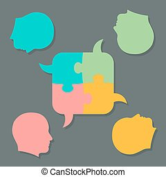 Jigsaw puzzle speech bubbles and people heads - Set of flat...