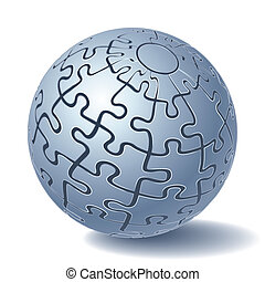 Jigsaw puzzle sphere. All Parts Together. Vector...