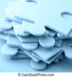 Jigsaw puzzle - Stack of jigsaw puzzle pieces