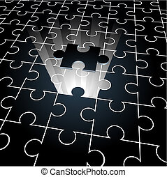 Jigsaw puzzle: the missing piece concept background, vector...