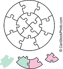 Jigsaw Puzzle Two Circles - Jigsaw puzzle in the form of two...