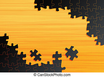 Jigsaw puzzle vector background on wooden table