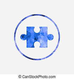 Jigsaw puzzle vector icon in the button