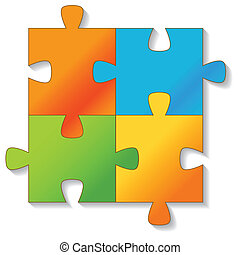 Jigsaw Puzzle. Vector. - Jigsaw Puzzle on a white...
