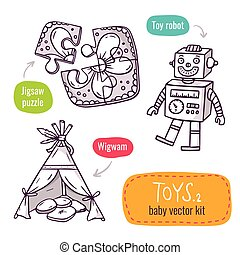 Jigsaw puzzle, vintage robot and wigwam - vector line art icon set with baby toys isolated on white