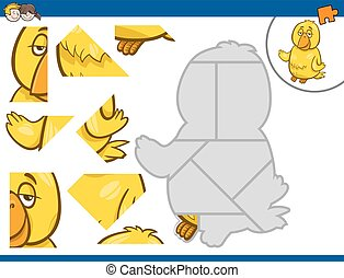 jigsaw puzzle with canary - Cartoon Illustration of...