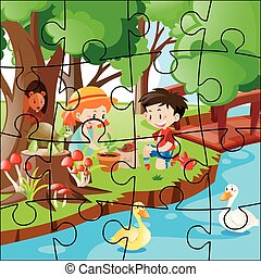 Jigsaw puzzle with kids planting trees