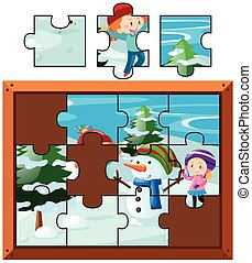 Jigsaw puzzle with kids playing snow