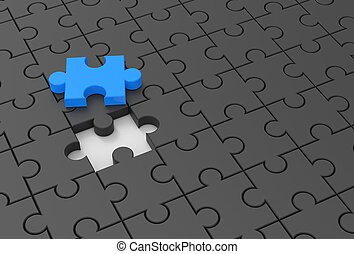 Jigsaw puzzle with missing piece. 3D illustrating.