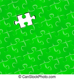 Jigsaw puzzle with one missing piece, vector illustration
