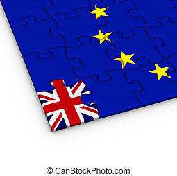 Jigsaw puzzle with the national flag of Great Britain and European Union.