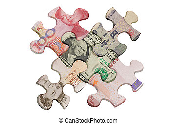 Jigsaw puzzles superimposed with world major currencies