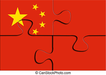 Jigsaw Puzzles with China flag