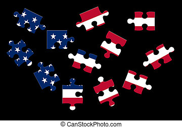 Jigsaw Puzzles with Flag USA