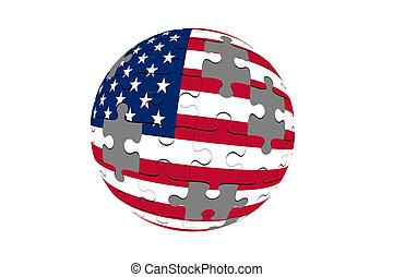 Jigsaw Puzzles with Globe Flag USA