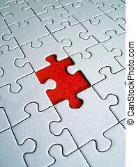 Jigsaw red element close-up