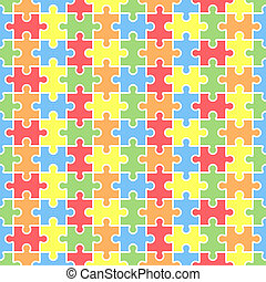 Jigsaw seamless puzzle blank template. Pieces are easy to...