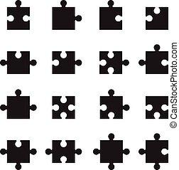 jigsaw, sort, stykker