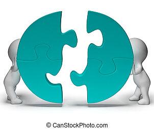 jigsaw stukken, wezen, verbonden, het tonen, teamwork, en,...