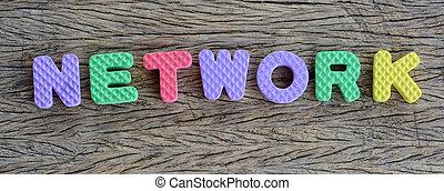jigsaw written network word on wood background