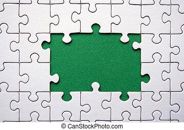 Jigsaws frame - White and green jigsaw frame