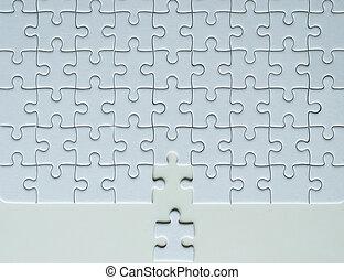 Jiigsaw puzzle white color, Puzzle pieces grid, Concept partnership business successful teamwork