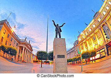 Jim Larkin monument in Dublin city centre shoot in summer...