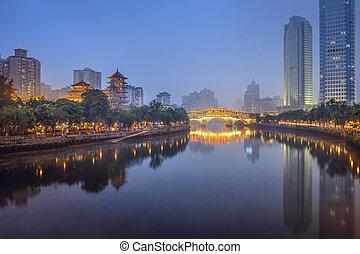 jin, chengdu, rivière, porcelaine