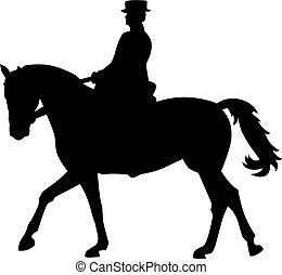 jinete caballo, dressage