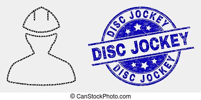 jinete del disco, angustia, punteado, watermark, trabajador...