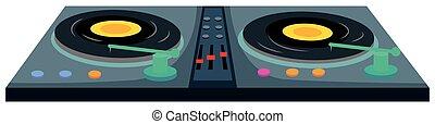 jinete, discos, dos, máquina, disco, música