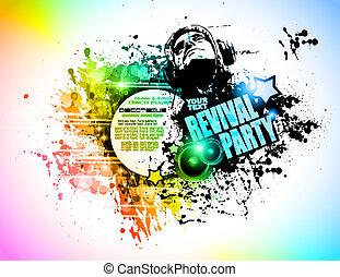 jinete, elements., colorido, club, cartel, resumen, disck, ...