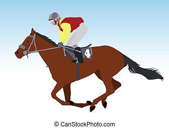 jinete, equitación, carrera, caballo