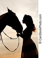 jinete, mujer, joven, a caballo, b, equitación, caballo,...