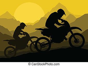 jinete, vector, silueta, motocicleta, moto