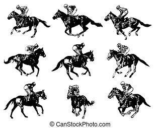 jinetes, caballos, carreras